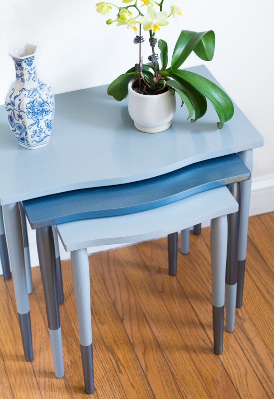 Blue metallic tables by brittany goldwyn