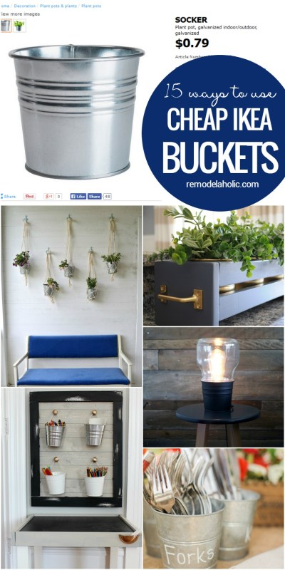 These cheap metal buckets from IKEA's SOCKER line are SO versatile to hack into organizers, lights, and more. Great for organizing every room in the house, too!