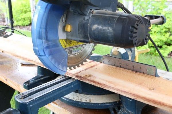 step 1, cut cedar boards for custom wood window box planter