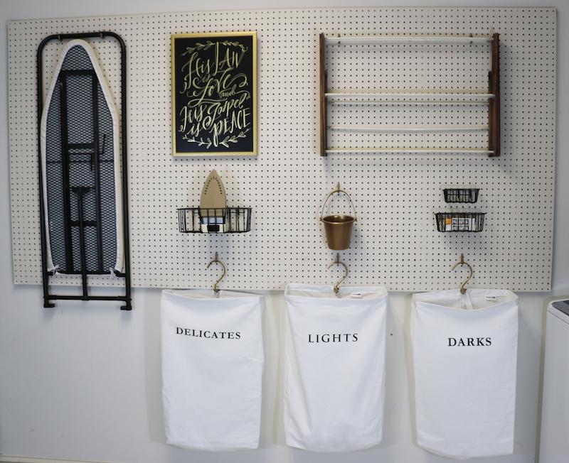 DIY Peg Board in Laundry Room