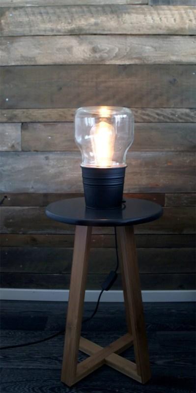 Easy IKEA metal bucket (SOCKER) hack into a small table lamp via IKEAHackers