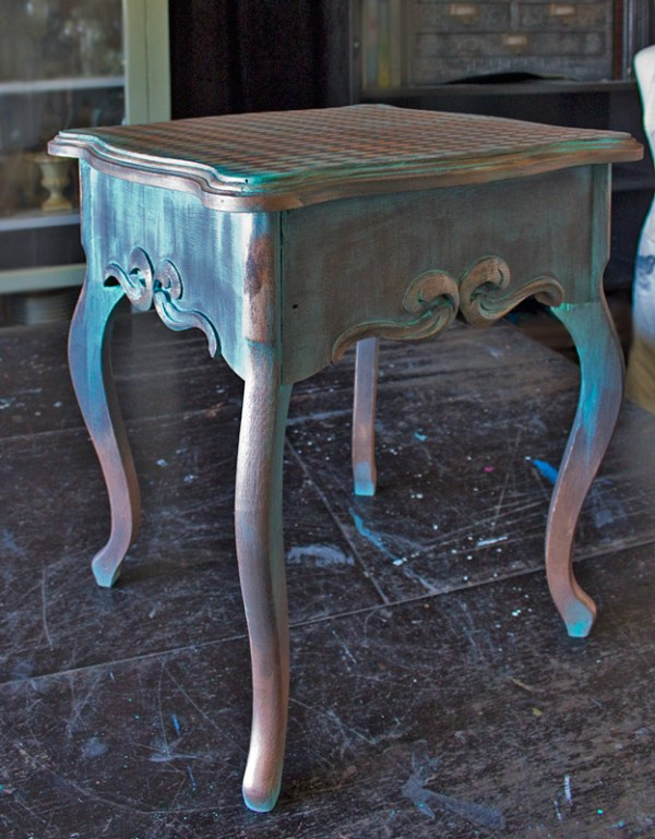 Faux Aged Copper TAble Finish The Graphics Fairy