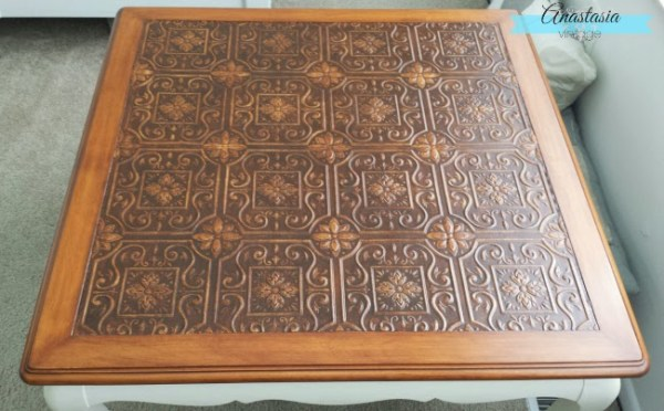 Faux Engraved Coffee Table Top Anastasia Vintage