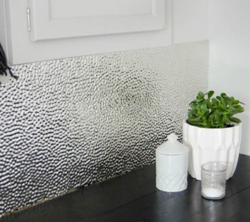 How to Install a Metal Ceiling Tile Backsplash