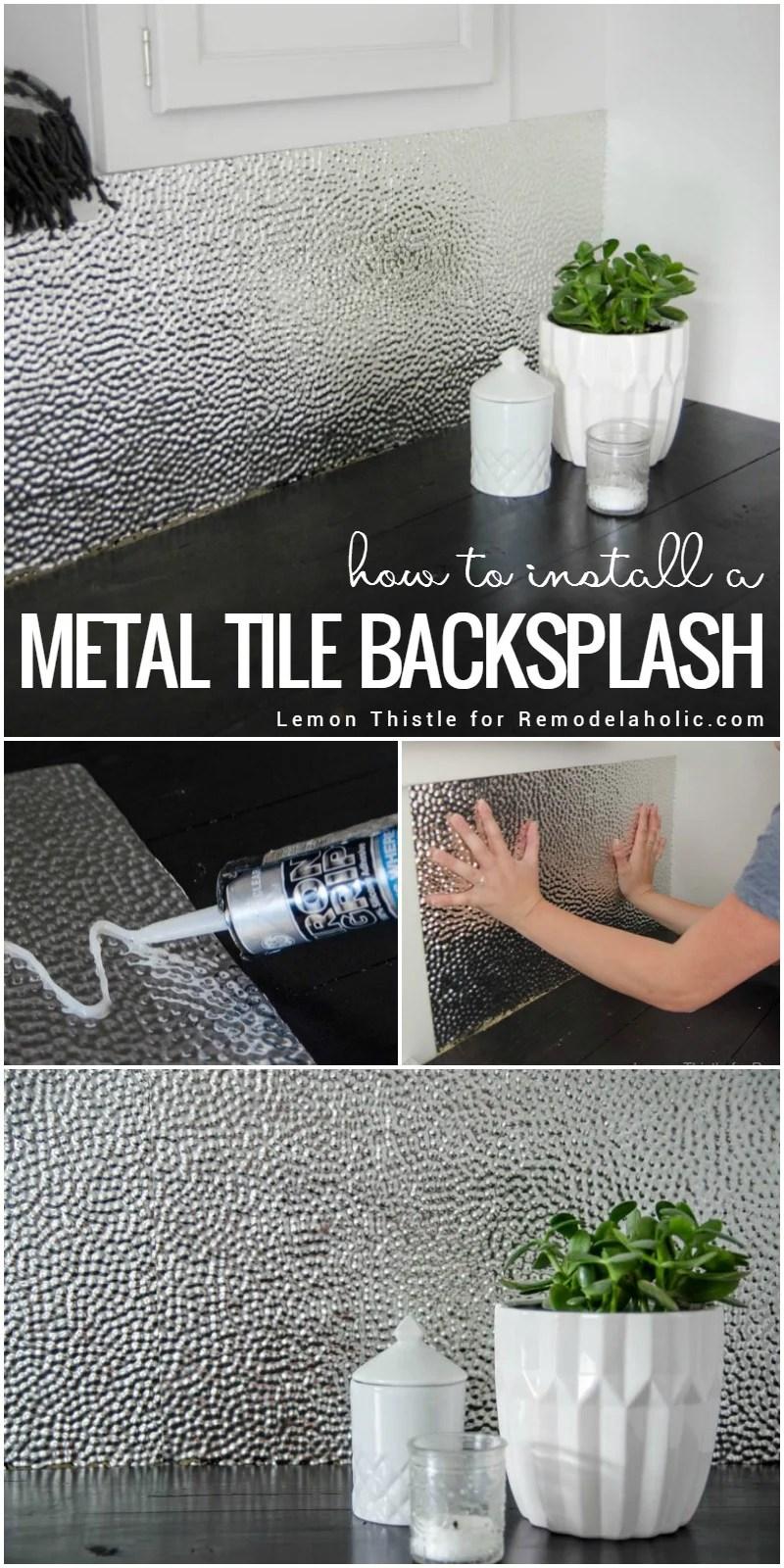 install a metal ceiling tile backsplash