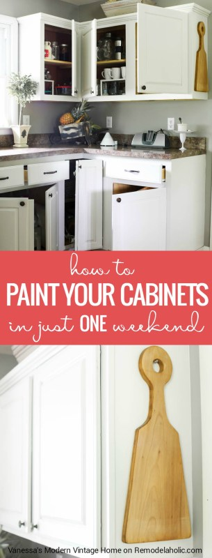 Just one weekend to a new look for your kitchen! Learn how to paint ALL your cabinets in just one weekend with Vanessa's Modern Vintage Home on Remodelaholic.com