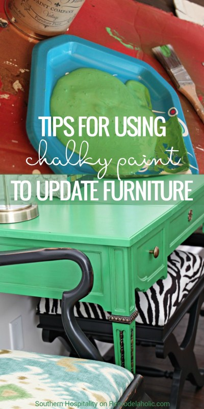 This green entry table is beautiful! I love the paint color and these tips for using and sealing chalk paint are just what I need for my next project! @Remodelaholic