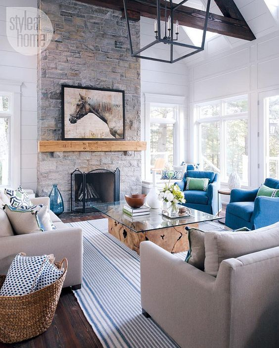 coastal casual living room with fireplace, via Style at Home