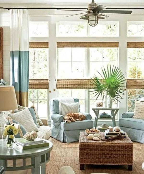 coastal casual living room with shiplap and bamboo blinds via @Remodelaholic
