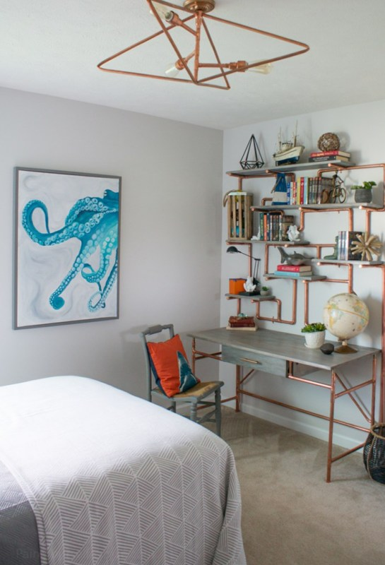 copper pipe DIY desk in a teen bedroom by Paint Yourself a Smile