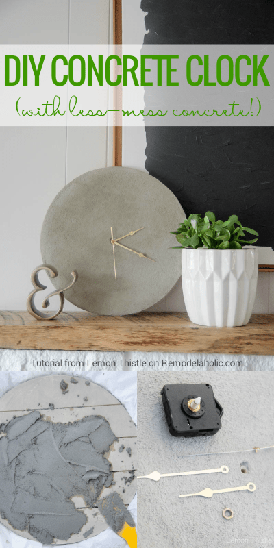 How to make an easy DIY concrete clock! This tutorial shows you how to get the modern industrial concrete look WITHOUT having to construct a mold or make a concrete mixing mess.
