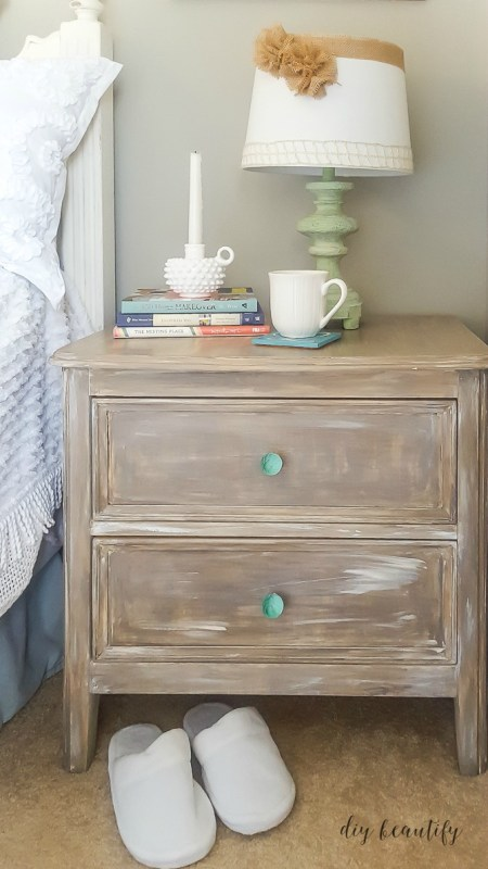 driftwood painted nightstand diy beautify