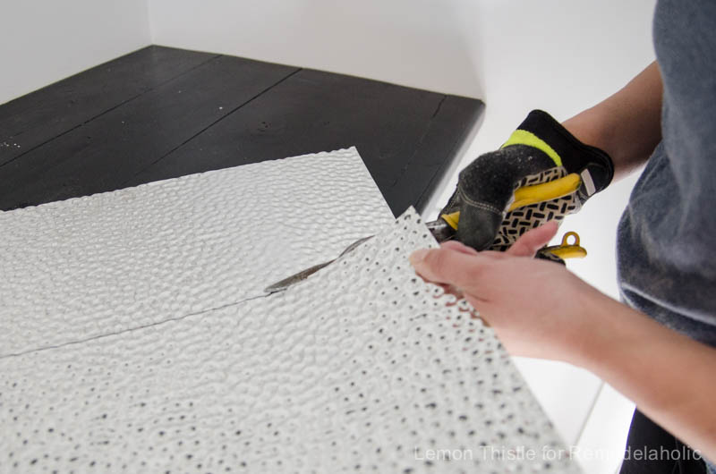 How to install a metal (steel) ceiling tile backsplash