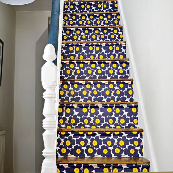 Bold Wallpaper stairs pillar box blue