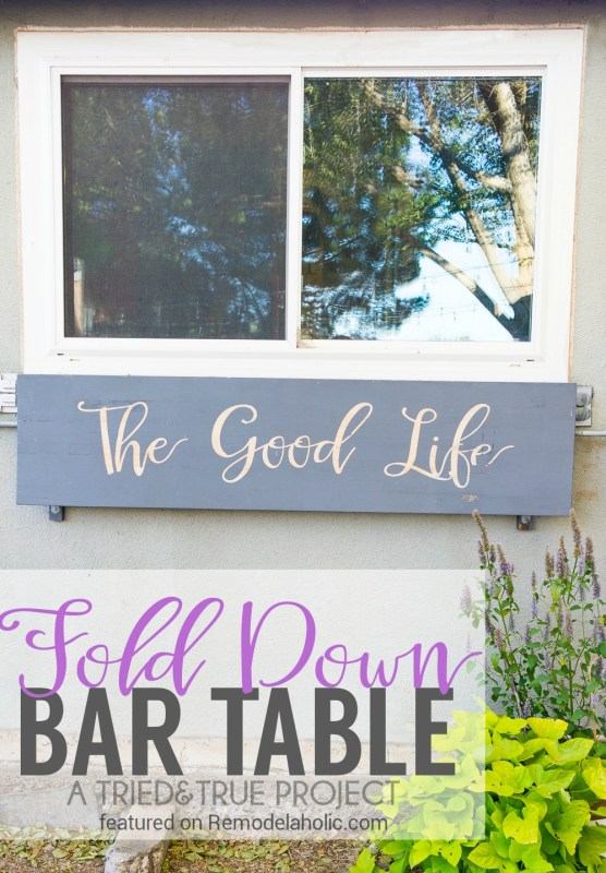 An easy patio table that doubles as yard decor! Build this super-easy fold down bar table before your next party -- just install it under a window for easy-access serving! Details from Tried & True on Remodelaholic.com