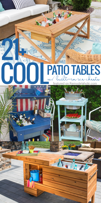 Stay cool this summer with these DIY cooler tables, featuring built-in coolers, sinks, and ice boxes to keep your drinks (and your party) COOL!