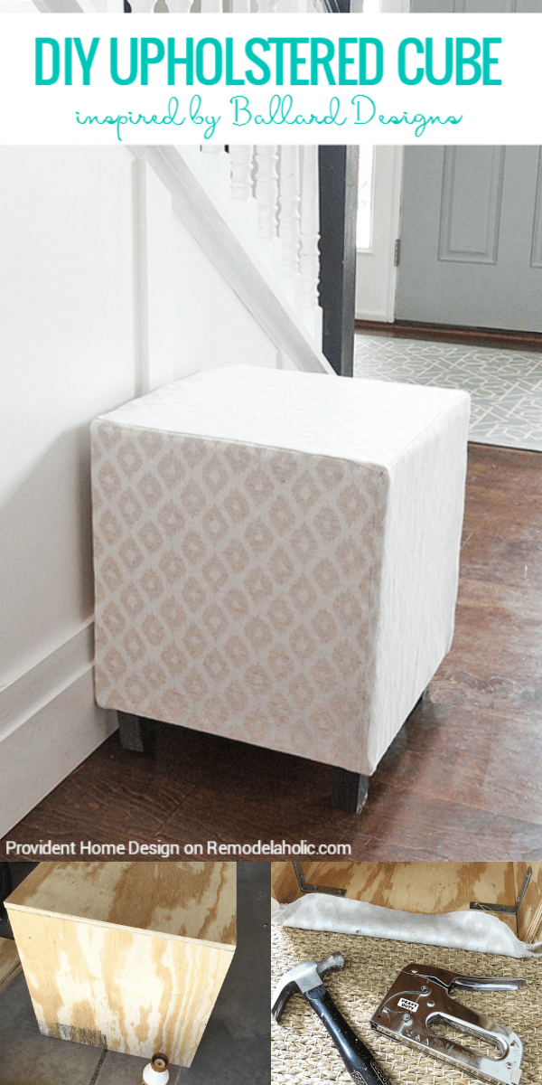 Remodelaholic ballard designs inspired upholstered cube ottoman or add seating and comfort with an easy multipurpose diy upholstered cube ottoman or stool you solutioingenieria Images