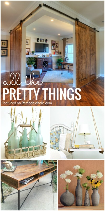 Friday Favorites - corner barn doors, uses for recycled glass, and more! Get all the details at Remodelaholic.com