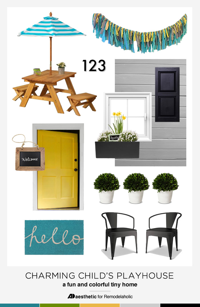 Tips and inspiration plus some CUTE decor picks for a charming and cute child's playhouse via Remodelaholic.com