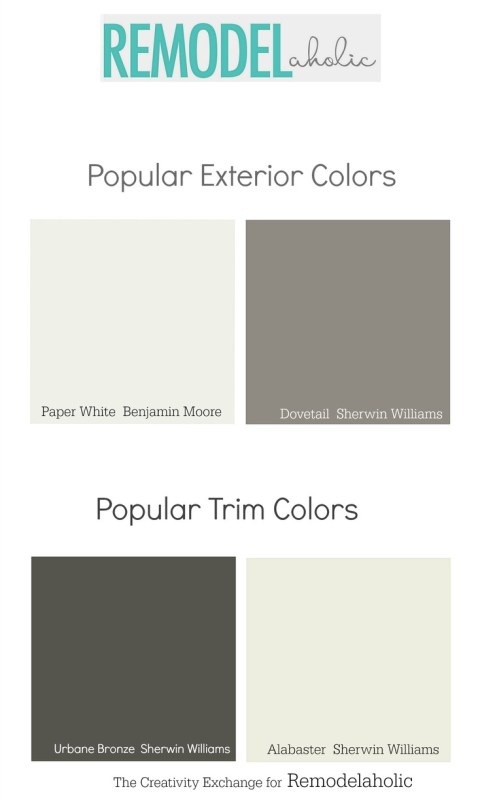 Popular exterior body and trim paint colors. Remodelaholic