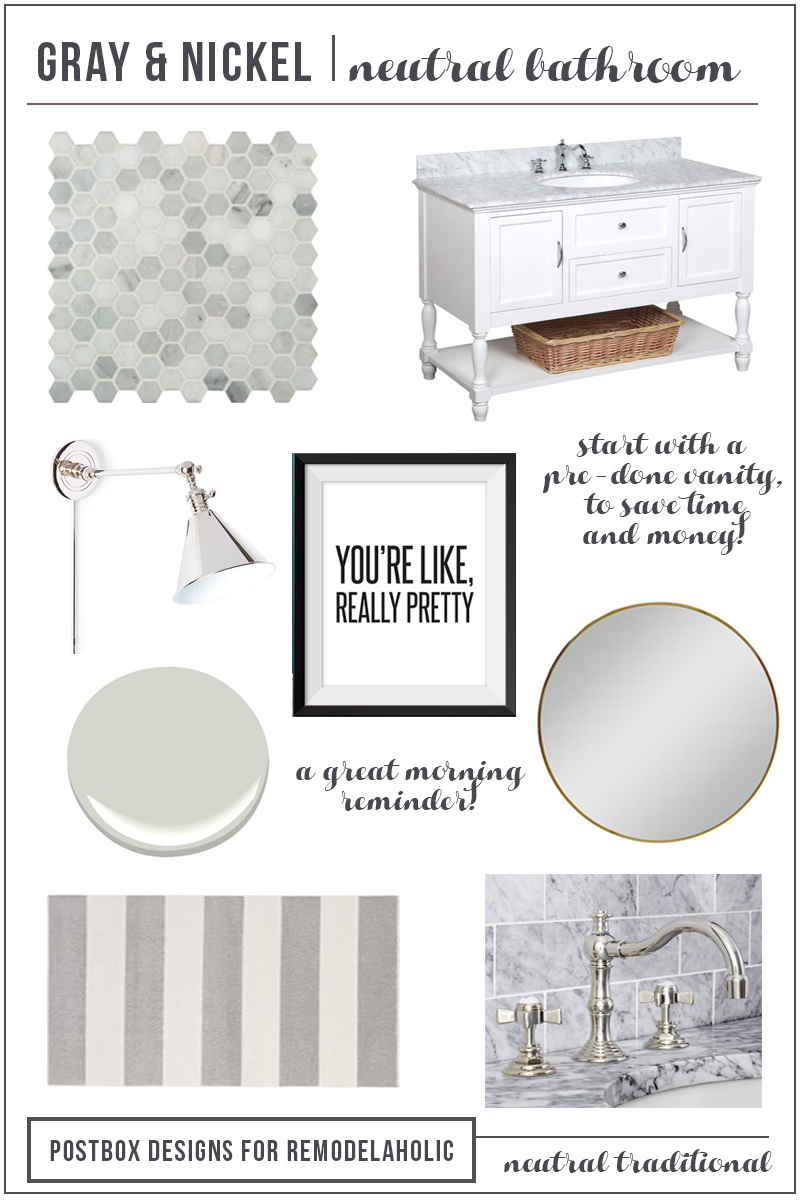 Designing a Classic Gray Bath Area, aka where to choose classic elements and where to follow trends | Polished Nickel and Gray Bathroom by Postbox Designs for Remodelaholic.com