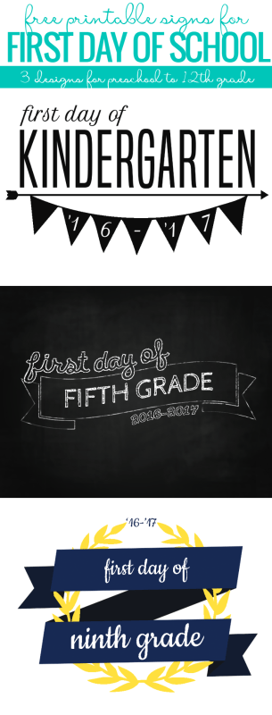 Those cute back to school photos are EASY with these printable first day of school signs. Choose from 3 designs, for your students from preschool up to 12th grade. Free from Remodelaholic.com