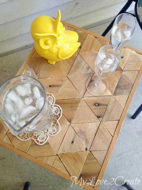 geometric wood pallet tabletop for a side table, Mylove2create