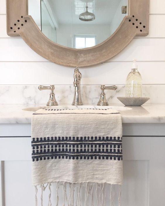 Gray Vanity with Wood Mirror, Postbox Designs