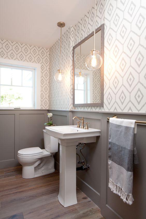 Gray and White Bath
