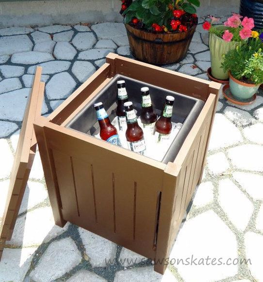 outdoor side table with beverage cooler inside, Saws on Skates