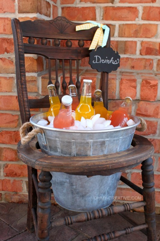 vintage chair turned drink stand with a galvanized bucket, Oh My Creative