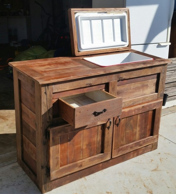wood cooler table with storage drawers and cabinets via UpcycleArt