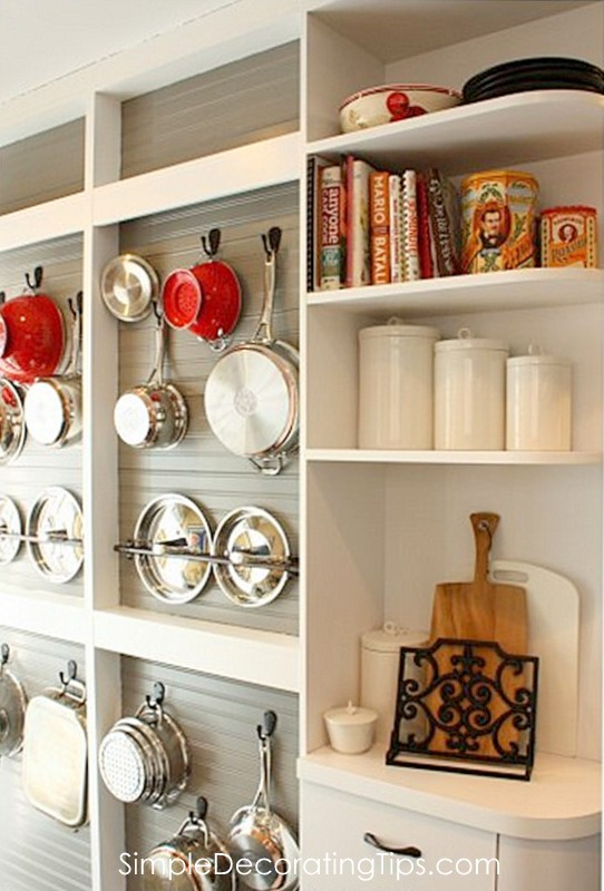 DIY Open shelving on-wall pot holder with beadboard by Simple Decorating Tips featured on @Remodelaholic