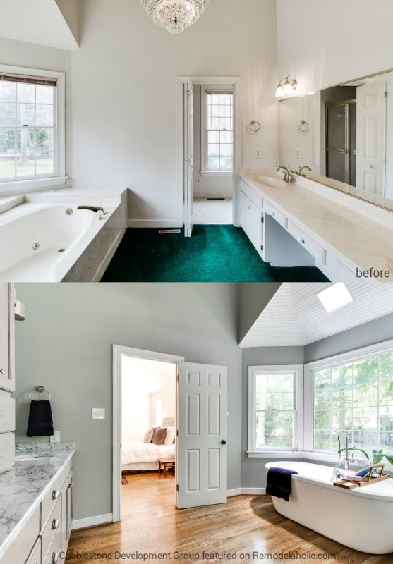 1980's Master Bathroom Renovation, Fendall Home Renovation, Cobblestone Development Group featured on @Remodelaholic