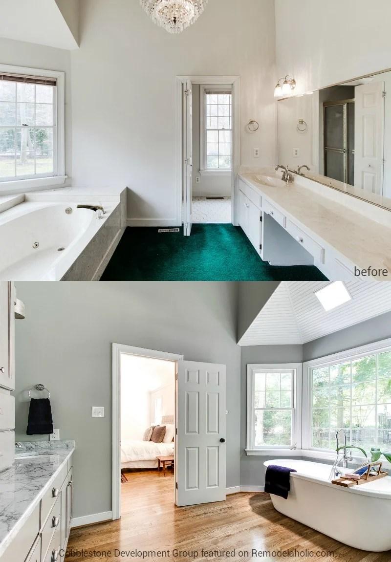 1980 S Master Bathroom Renovation Fendall Home Cobblestone Development Group Featured On Remodelaholic