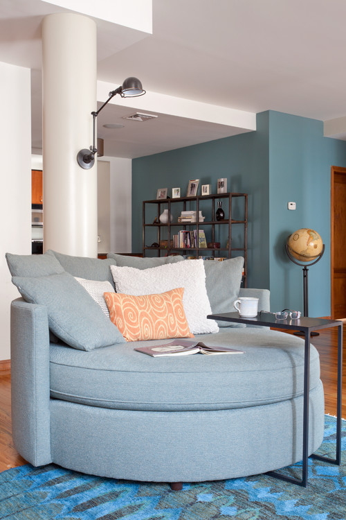 Accent wall color is Aegean Teal from Benjamin Moore. Color Spotlight on Remodelaholic.