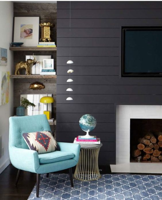 Awkward Alcove Solution: Add floating shelves   More ideas at Remodelaholic.com   Image Source: stylebyemilyhenderson.com