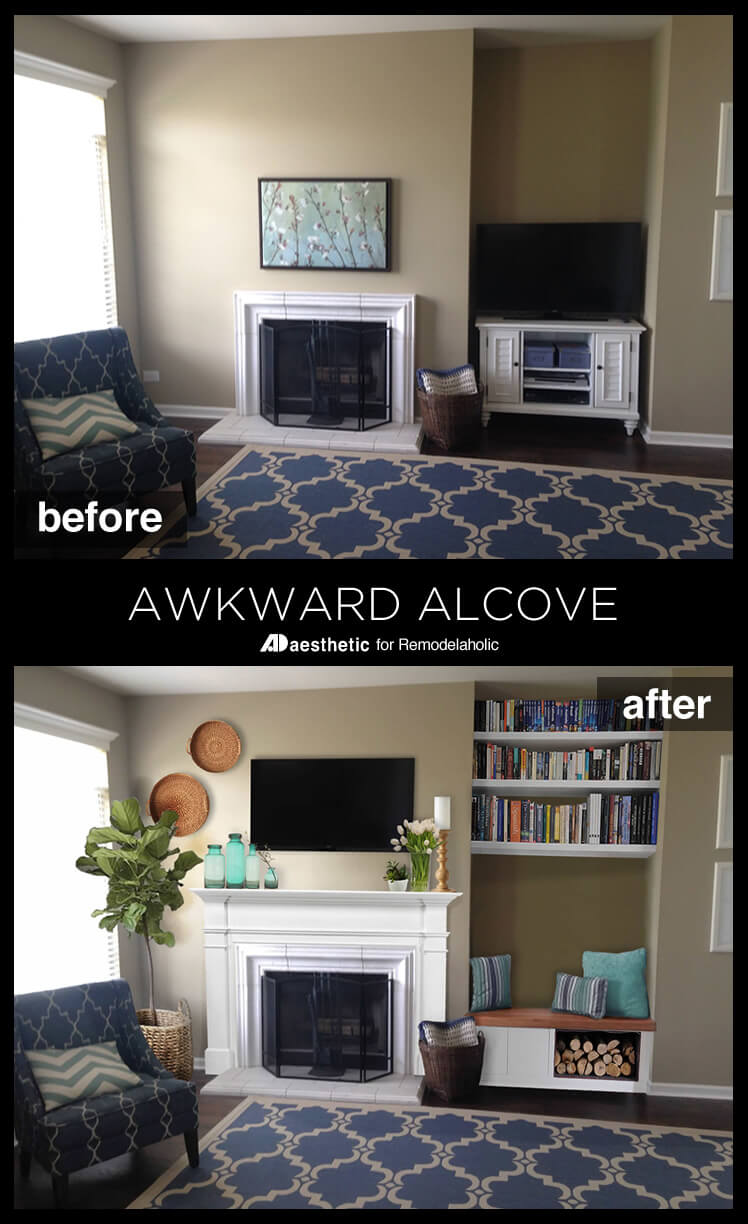 What a smart way to use an oddly placed nook! An Awkward Alcove Becomes a Storage Bench • AD Aesthetic for Remodelaholic.com