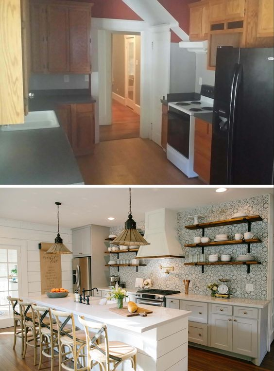Love the look of the kitchens on Fixer Upper? Get the look in your own home with these 6 Design Elements of a Fixer Upper Kitchen featured on Remodelaholic.com Fixer Upper Kitchen - Season 3, Beanstalk