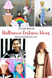 Halloween is coming fast. Do you have your costume ready? If not don't worry here are 25 last minute Halloween Costume Ideas featured on Remodelaholic.com