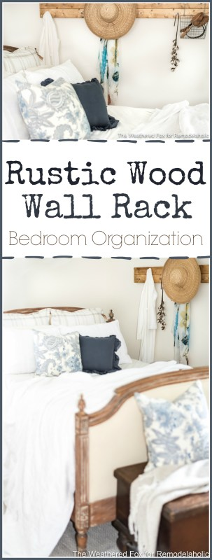Made from a couple of pallet slats, this simple DIY farmhouse wall rack will help keep clothes, scarves, hats, jackets and more organized and off the floor. In just ten minutes and for under $10, too!