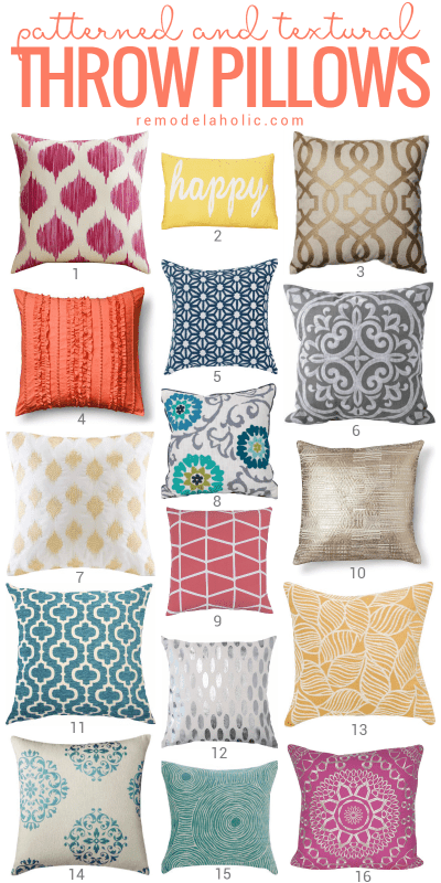 These fun pattern and texture throw pillows are a perfect finishing touch for any bed or reading nook @Remodelaholic