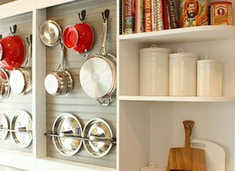 DIY Wall Mounted Pot Rack From A Shallow Display Cabinet