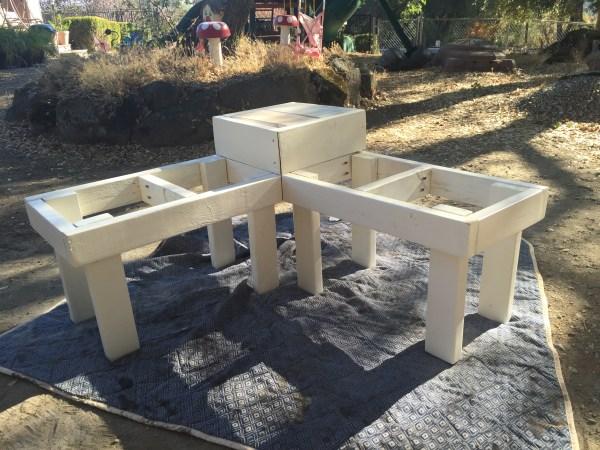 Corner bench frame painted white