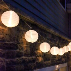 outdoor string lights, paper lantern globe