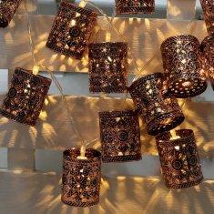 outdoor string lights, vintage metal lantern