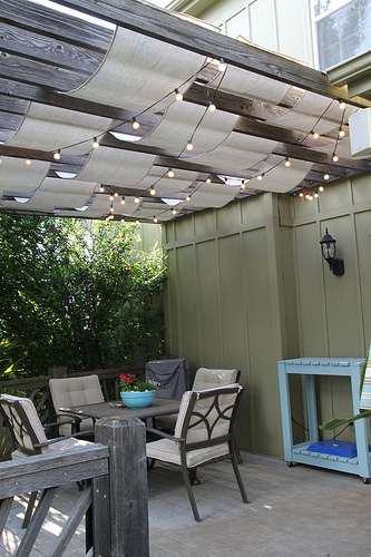 pergola with diy sails from dropcloth