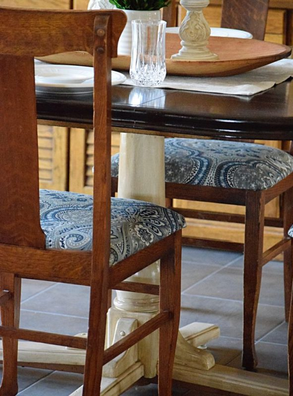 reupholstered dining chairs in blue paisley print, Timeless Creations MN