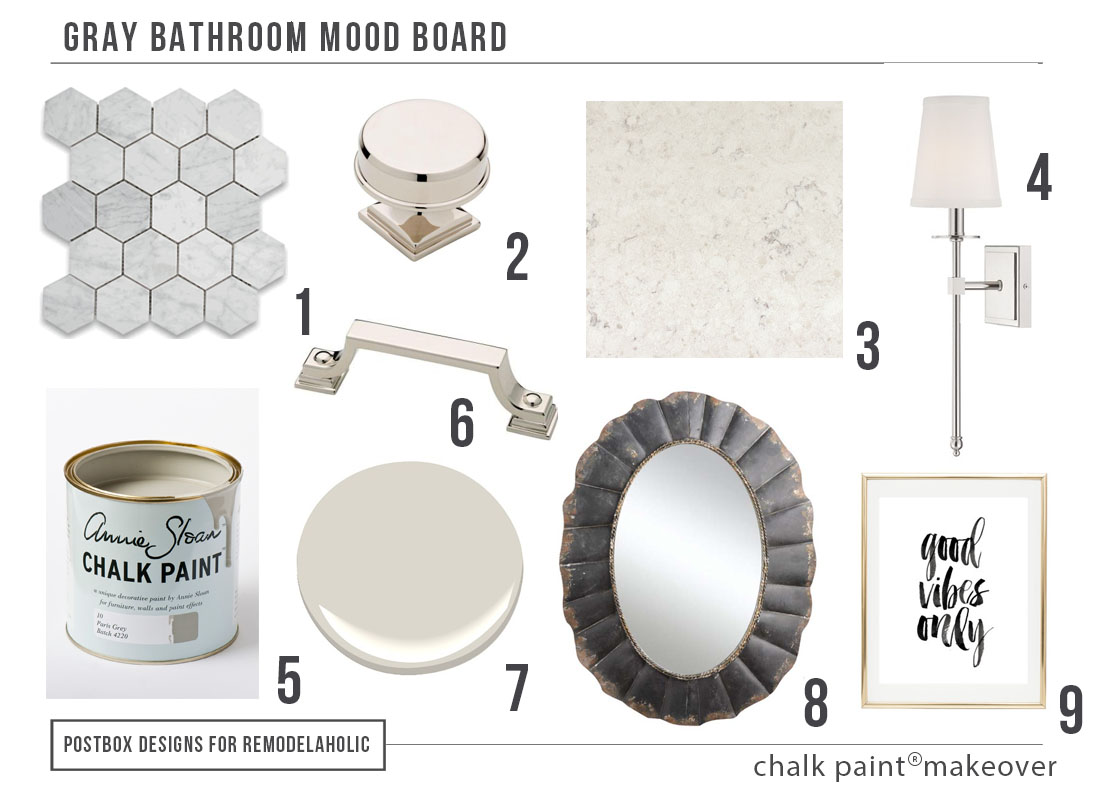 Gray bathroom makeover and new painted vanity using Chalk Paint® on @remodelaholic