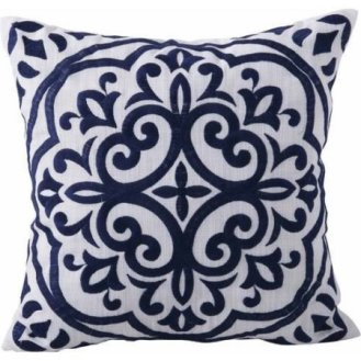 Block Embroidery Medallion Decorative Pillow in Navy